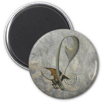 Gargoyle Monogram C 6 Cm Round Magnet