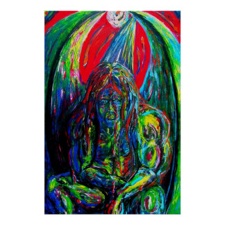 Gargoyle Sci Fi Winged Creature Oil Paint Colorful Poster