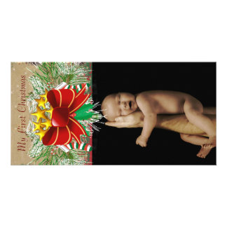 Garland & Bows  My 1st Christmas Baby Photo Card