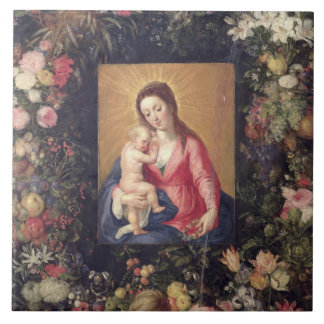 Garland of Fruit and Flowers with Virgin and Child Ceramic Tiles