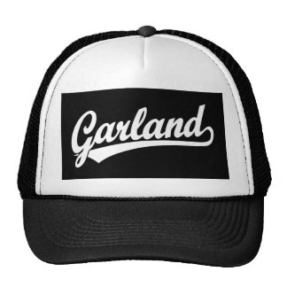 Garland script logo in white cap