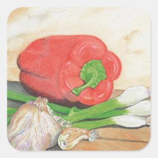 Garlic, Onions and Pepper Square Sticker