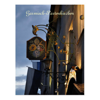 Garmisch-Partenkirchen at night postcard
