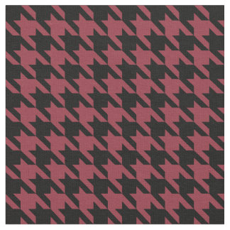 Garnet and Black Houndstooth Fabric