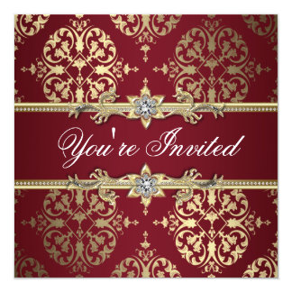 Garnet Ruby Red Gold Black Damask Party Invitation