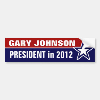 Gary Johnson in 2012 Bumper Sticker