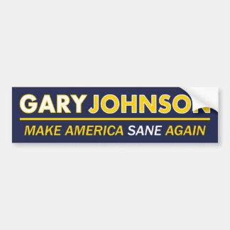 Gary Johnson Make America Sane Bumper Sticker