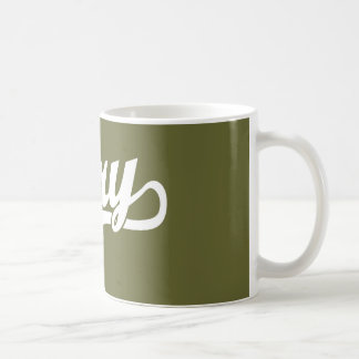 Gary script logo in white coffee mugs