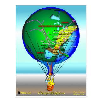 Gas Can Canary Hot Air Balloon Postcard