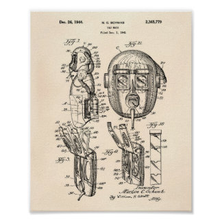 Gas Mask 1944 Patent Art Old Peper Poster