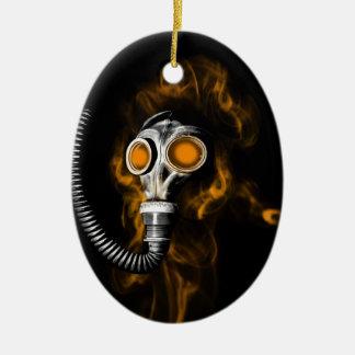Gas mask ceramic ornament