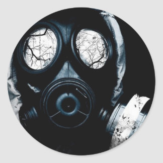 gas mask classic round sticker