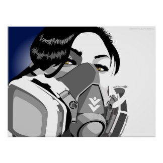 gas mask girl poster