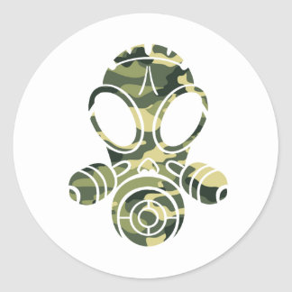 gas mask green camo classic round sticker