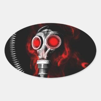 Gas mask oval sticker