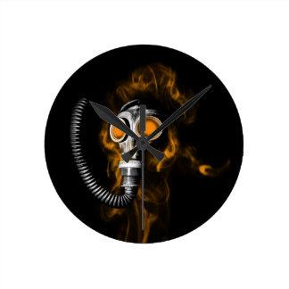 Gas mask round clock