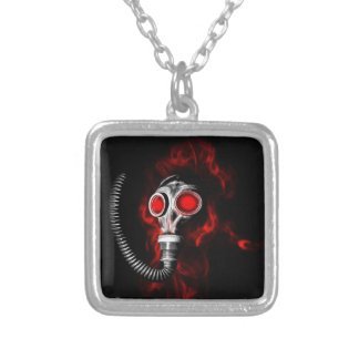 Gas mask silver plated necklace