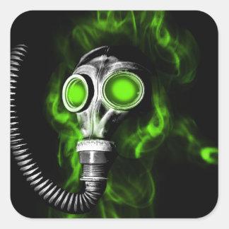 Gas mask square sticker
