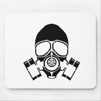 gas mask stencil logo mouse pad