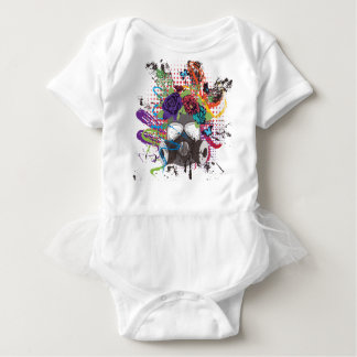 Gas Mask with Roses 5 Baby Bodysuit
