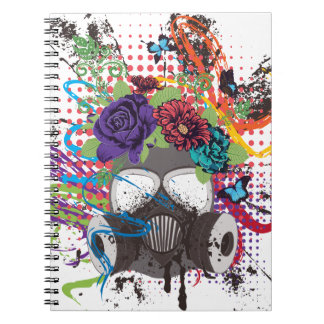 Gas Mask with Roses 5 Notebook