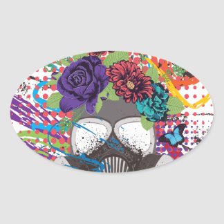 Gas Mask with Roses 5 Oval Sticker