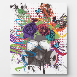 Gas Mask with Roses 5 Plaque