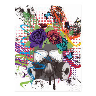 Gas Mask with Roses 5 Postcard