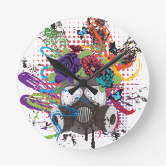Gas Mask with Roses 5 Round Clock