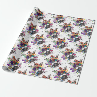 Gas Mask with Roses 5 Wrapping Paper