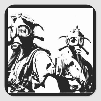 Gas Masks in Black Square Sticker