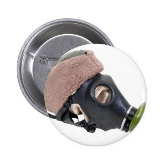 GasMaskMilitaryHat052409 Pinback Buttons