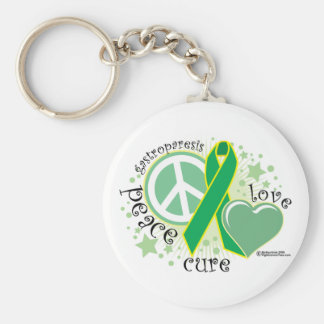 Gastroparesis Peace Love Cure Key Ring