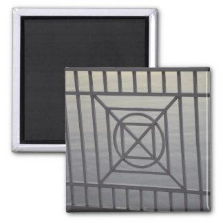 gate abstract pattern white rails neat background fridge magnet