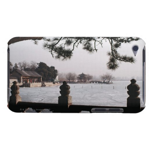 Gate and foliage by frozen lake, China Barely There iPod Covers