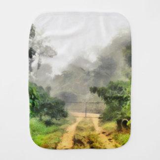 Gate, greenery and mist burp cloth