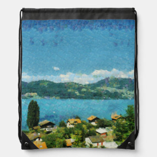 Gate, greenery and mist drawstring bag