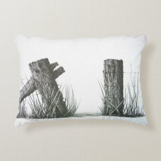 Gateway to Another Time - Fence Post Drawing Accent Cushion