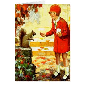 """GATHER 'N GOBBLE"" VINTAGE HARVEST THANKSGIVING CARD"