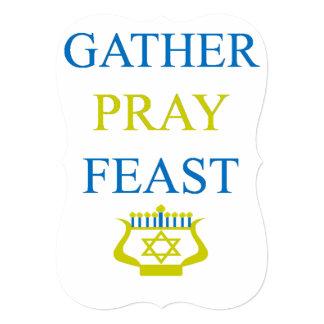 Gather Pray Feast Hanukkah 13 Cm X 18 Cm Invitation Card