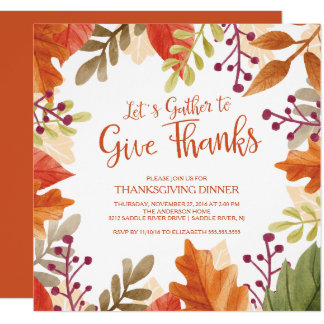 Gather to Give Thanks Thanksgiving Dinner 13 Cm X 13 Cm Square Invitation Card