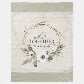 Gather Together Family Rustic Farmhouse Wreath Art Fleece Blanket