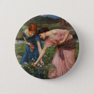 Gather Ye Rosebuds by John W. Waterhouse 6 Cm Round Badge