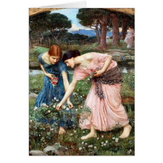 Gather ye Rosebuds While ye May Waterhouse Card
