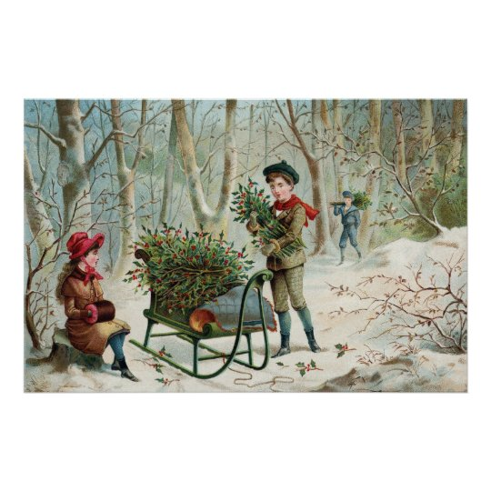 Gathering Christmas Holly  c.1890 Poster