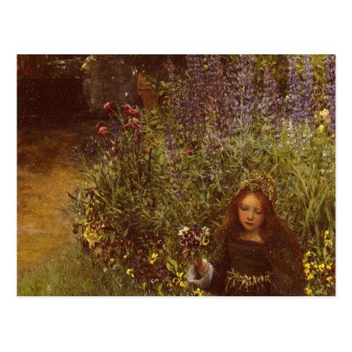 Gathering Pansies by Laura Teresa Alma-Tadema Postcard