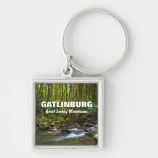 Gatlinburg - Great Smoky Mountains Silver-Colored Square Key Ring