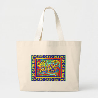 """Gato"" colorful design by david Jumbo Tote Bag"