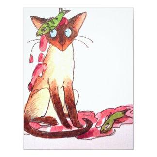 """gato divertido pensativo 4.25"""" x 5.5"""" invitation card"""