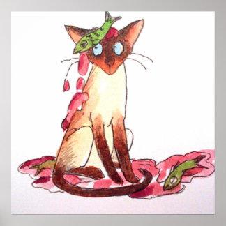 gato divertido pensativo poster